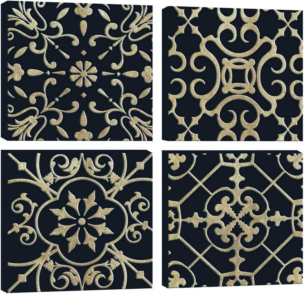 DAVOD Canvas Wall Art For Bedroom Gold Foil Pattern Black Yellow Boho Vintage Theme Pictures Bathroom Wall Decor Kitchen Office Home Decorations Framed Artwork Prints 12x12inches 4panels