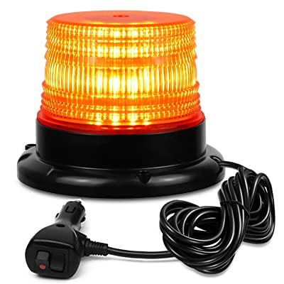 NISUNS Amber 40 LED 20 Watt Rotating Warning Safety Flashing Beacon Strobe Lights with Magnetic and 16ft Straight Cord for Vehicle Trucks Cars and Forklift,12V-24V: Automotive