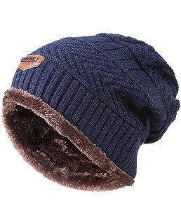 Kfnire Sombrero de Hombre, Gorros de Punto de Invierno de los Hombres con Forro Polar Gorro (Azul)