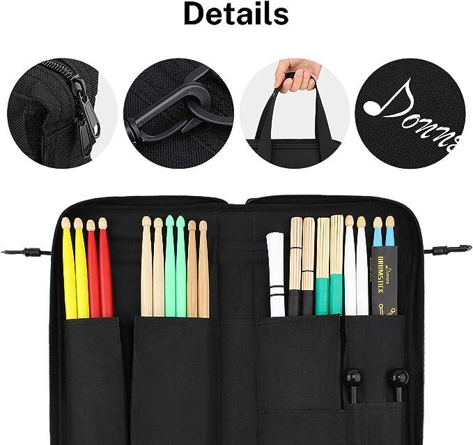 Donner Bolsa para Baquetas de Batería con Ganchos de Tom Hooks, Estuche para llave de Batería/Cepillos de Alambre de batería/Almohadilla de Resonancia/Mazas: Amazon.es: Instrumentos musicales