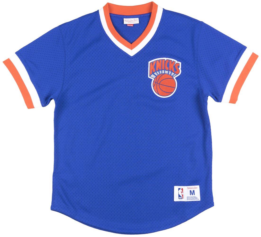 新しいYork Knicks Mitchell and Ness BP Vネックメッシュジャージー B01KCX166Q Large