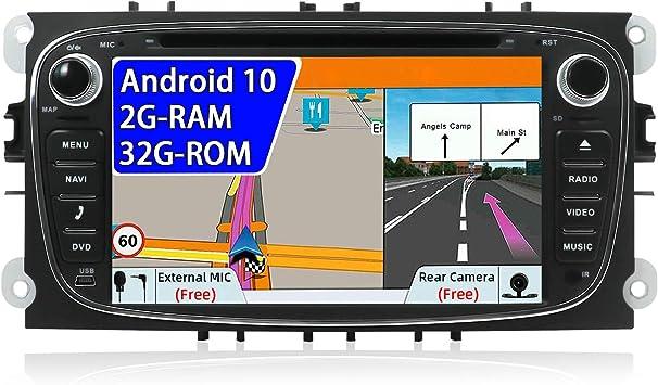 JOYX Android 10 Autoradio compatible para Ford Focus/Mondeo/S-Max/C-Ma/Galaxy Navegacion - 2Din - 2G+32G - LIBRE Cámara trasera Canbus - Apoyo ...