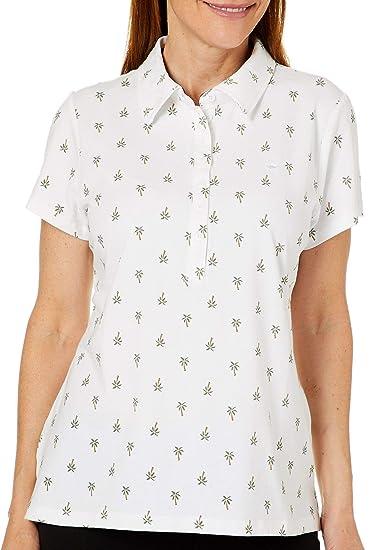 49e693c2695 GLORIA VANDERBILT Petite Annie Palm Tree Print Polo Shirt at Amazon Women s  Clothing store