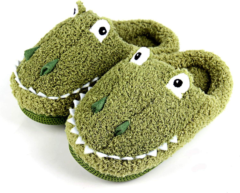 Kiyoh Boys Girls House Slippers Plush Slip on Kids Cute Animal Toddler Warm Winter Indoor Shoes for Home