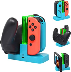 FASTSNAIL Controller Charger Compatible with Nintendo Switch, Charging Dock Stand Station Compatible with Switch Joy-con and Pro Controller with Charging Indicator and Type C Charging Cable Blue