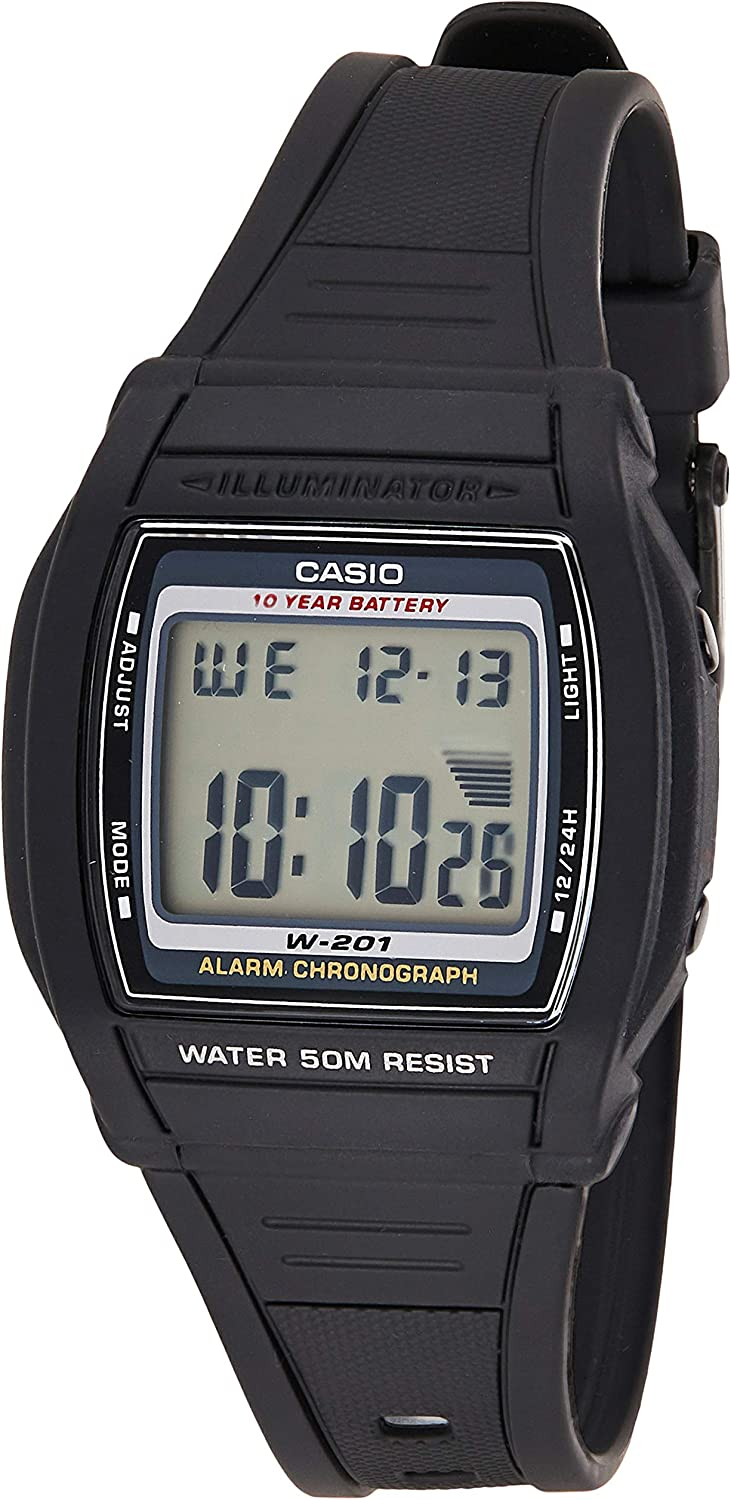 Casio Collection W-201-1AVEF, Reloj Digital para Mujer, Negro