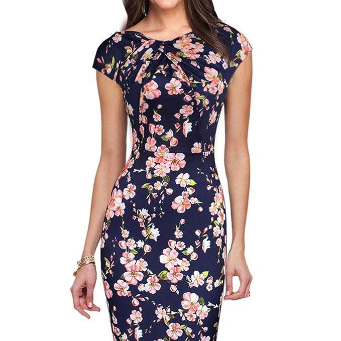 Bodycon Vestido para Mujer, Floral Elegante O-Cuello Manga Corta A-Lìnea Vestidos Moda Casual Primavera Verano Midi Vestido para Oficina Trabajo: Amazon.es: ...