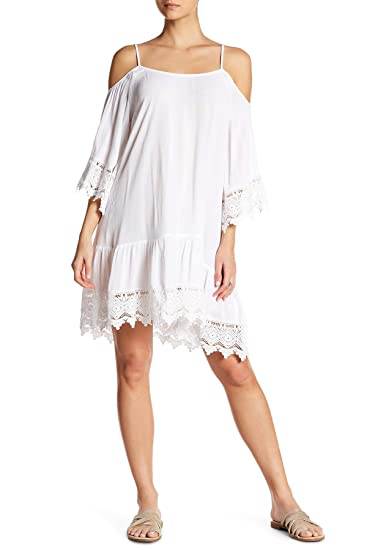 728a3ac7b91 La Moda Clothing White Cold Shoulder Cover Up Dress with Lace