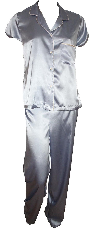 Ex M&S Pale Blue Short Sleeve Satin Pyjamas. Sizes 14-22