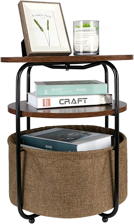 Round Side Table Brown End Sofa Coffee Tables Storage Organizer Stand Furniture