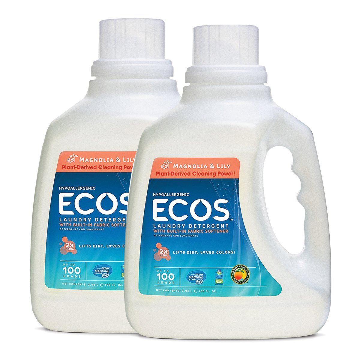 Earth Friendly Products ECOS 2X Liquid Laundry Detergent, Magnolia & Lily, 200 Loads, 100 FL OZ (Pack of 2) by ECOS