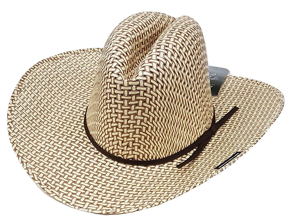 Modestone Boys Straw Cowboy Hat Make Your Own Shape Beige//White 2-Tone