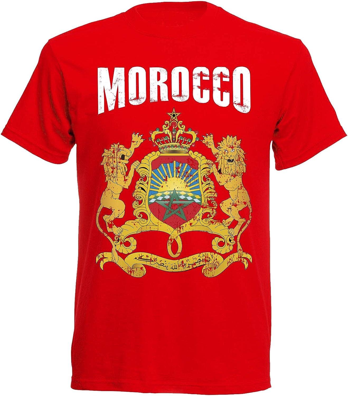Aprom-Sports Camiseta Marruecos Mundial 2018 Rojo Vintage Destroy Escudo D01 NC: Amazon.es: Ropa y accesorios