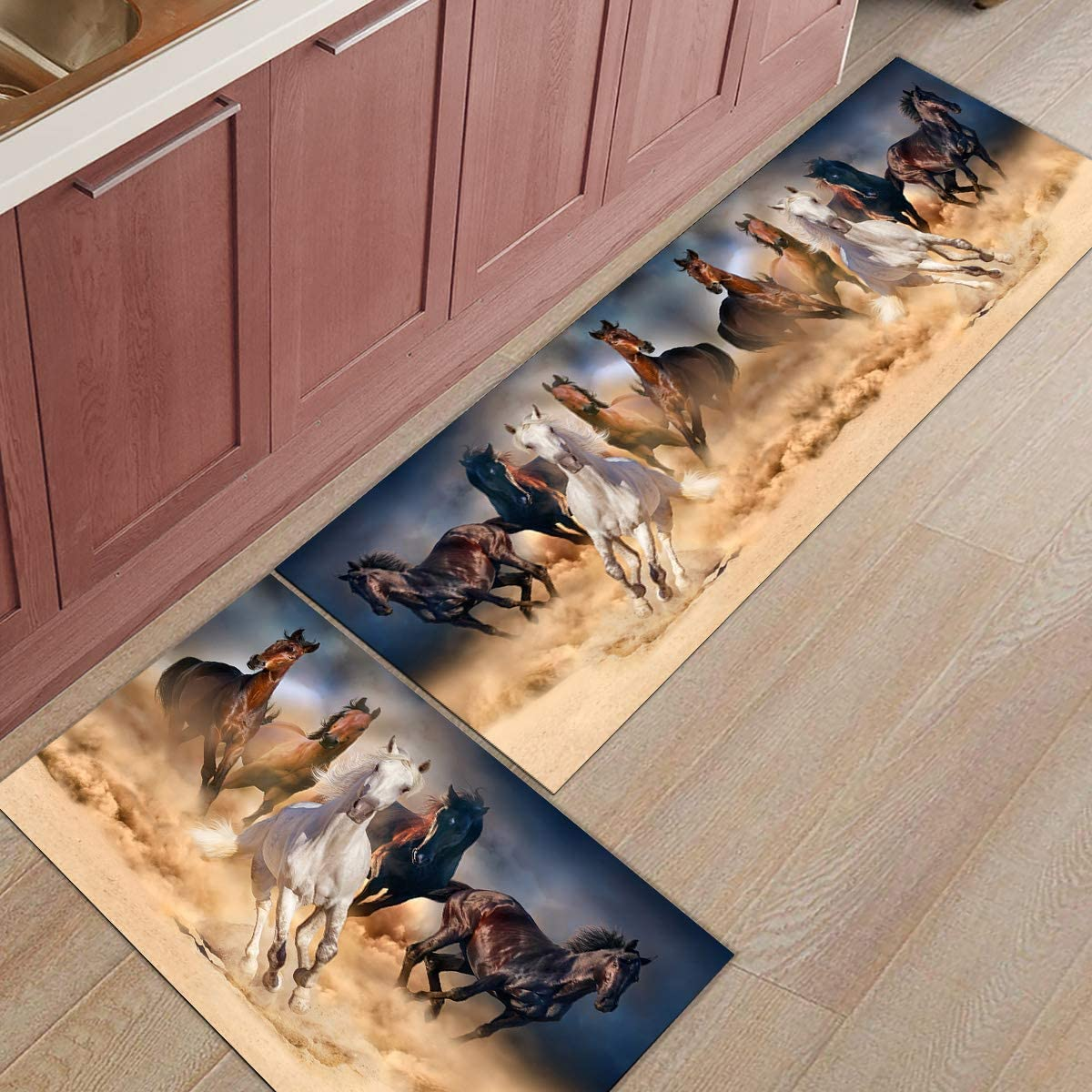 """Libaoge Kitchen Rugs and Mats Set of 2 - Running Horse Doormat with Non Skid Rubber Backing Floor Mat Accent Area Runner Indoor Entrance Carpet 23.6""""x35.4""""+23.6""""x70.9"""""""