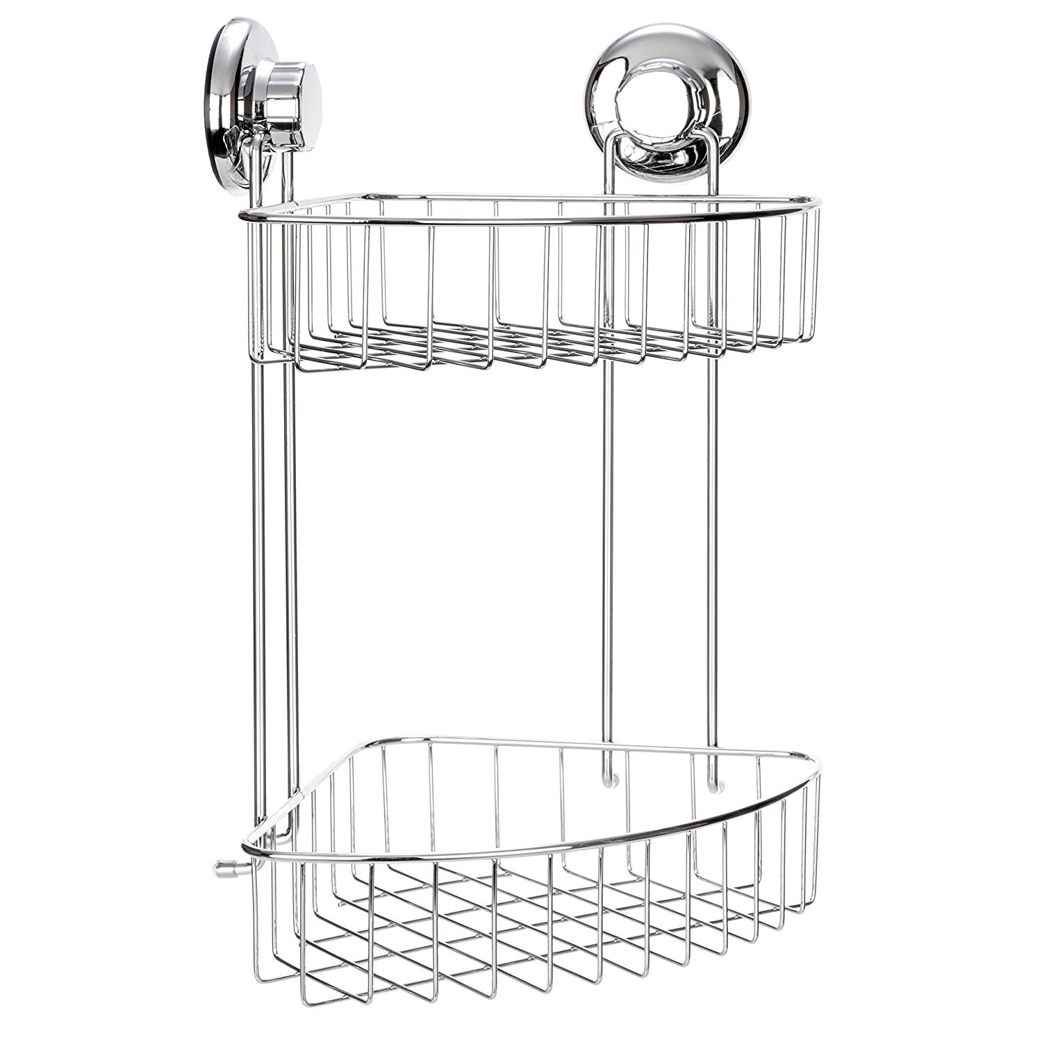 HASKO accessories Suction Cup Corner Shower Caddy | 304 Stainless Steel Polished Chrome Shelf 2 Tier Basket Holder for Bathroom and kitchen