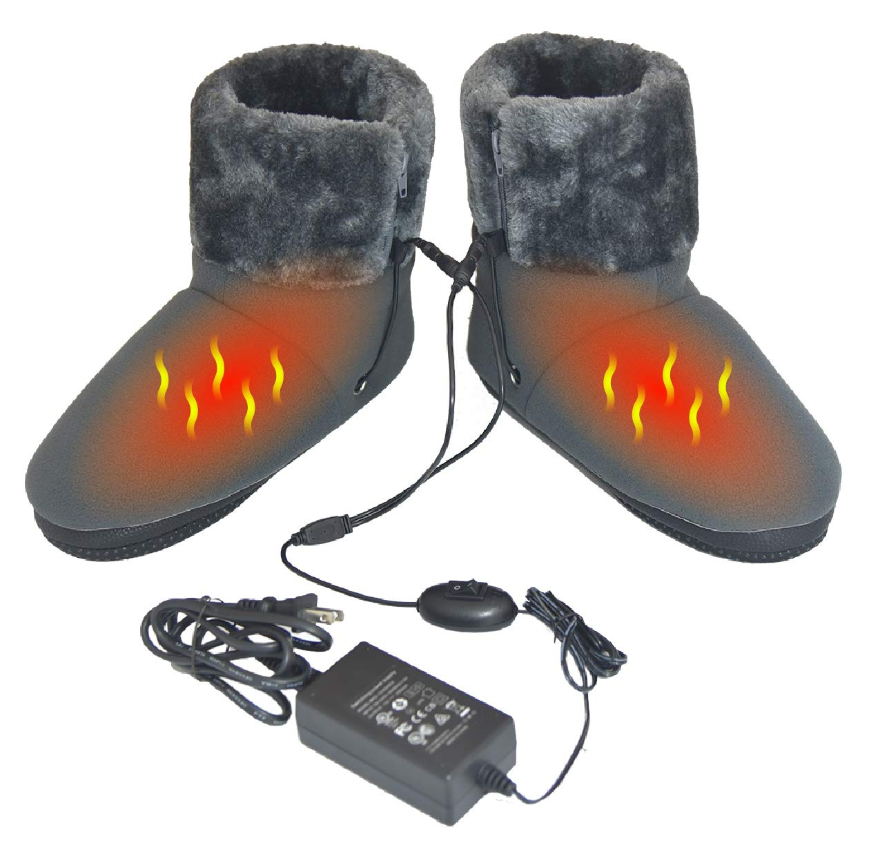 ObboMed MF-2320L Far Infrared Carbon Fiber Heated Foot Warmer/Boots/Slipper, 12V 20W – Far Infrared wavelength 8-15 μm (Health Range: 4-14 μm), Auto Off, Size L: #45.5 (fits Foot up to 45.5)