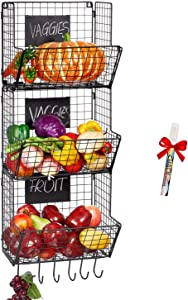 Befano Hanging Fruit Basket 3 Tier Metal Kitchen Baskets Rack Wire Wall Mounted Product Baskets Organizer with 6 Hooks and Chalkboards for Vegetable, Fruit, Snacks Storage in Kitchen