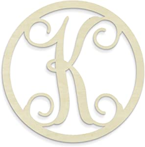 UNFINISHEDWOODCO Single Letter Circle Monogram-K, 19-Inch, Unfinished