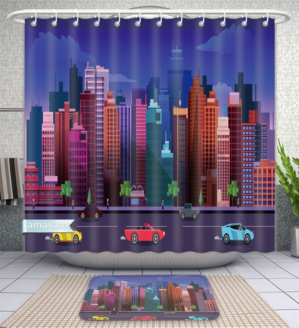 Amavam Bathroom 2-Piece Suit City Game Background D Application Design Shower Curtains And Bath Mats Set, 79'' Wx71 H & 31'' Wx20 H