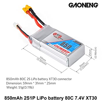 GNB 850mAh LiPo Battery 2S 80C 74V XT30 Connector For FPV Racing Drone