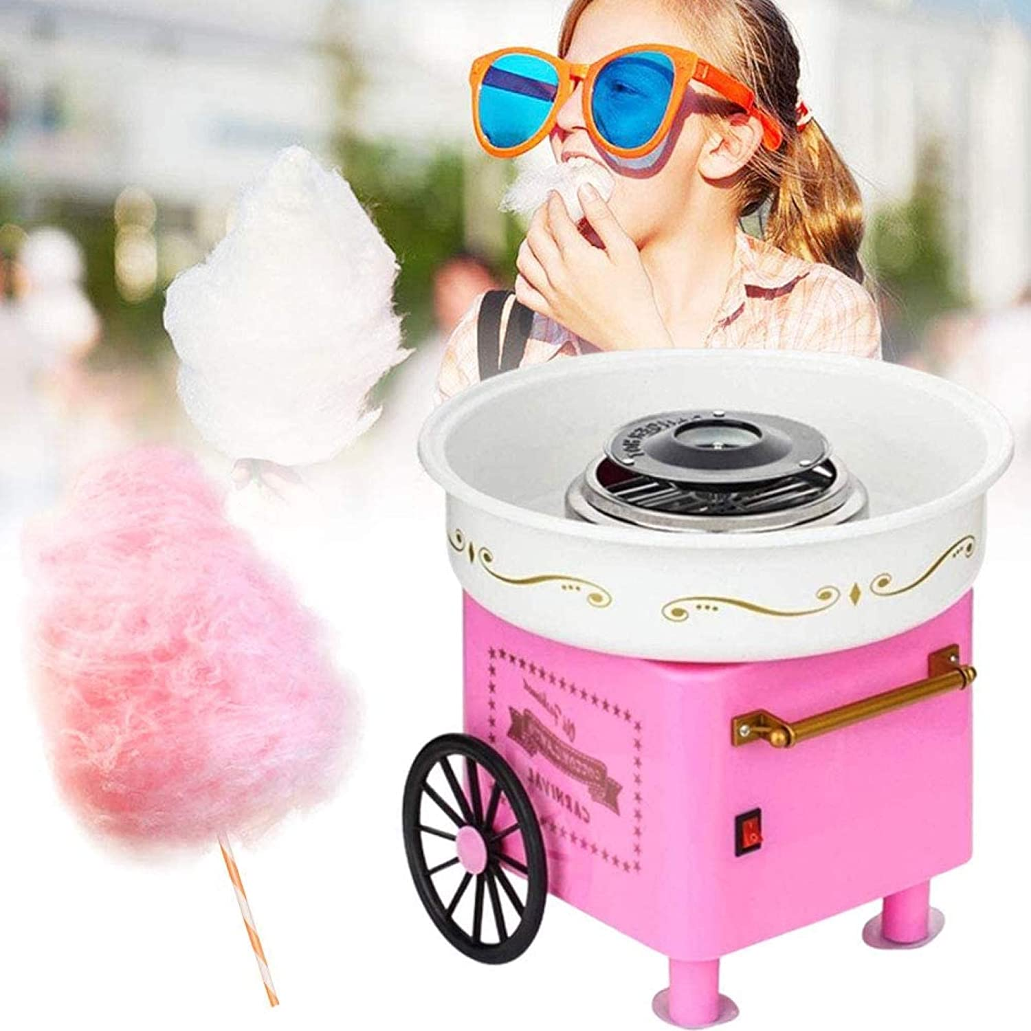 POAOVL Home Use Mini Countertop Cotton Candy Maker and Electric Candy Floss Maker Nostalgia Cotton Candy Maker for Kids Children Pink Trolley Creative Gift