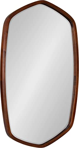 Kate and Laurel McLean Modern Wood Framed Oblong Hexagon Wall Mirror