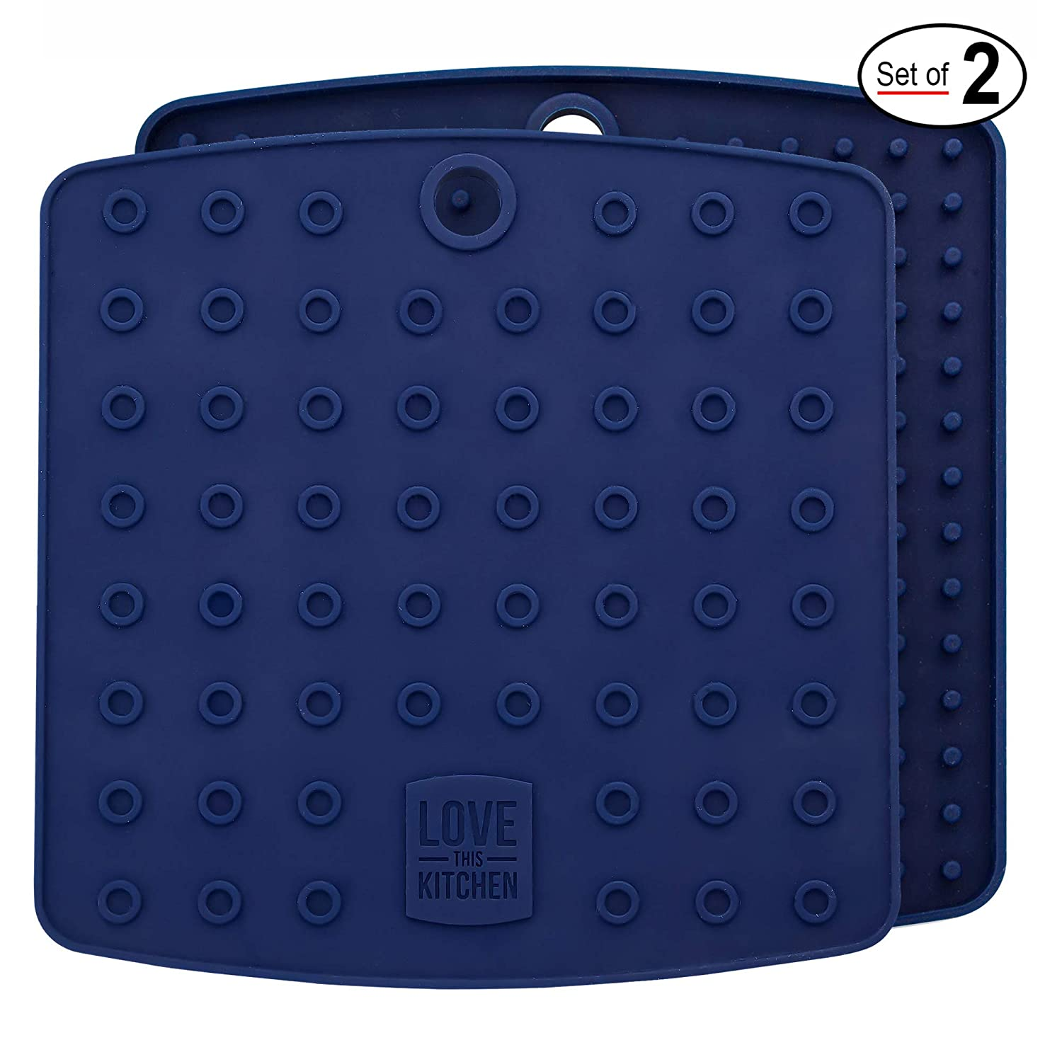 """Premium Silicone Trivet Mats/Hot Pads, Pot Holders, Spoon Rest, Jar Opener & Coasters - Our 5 in 1 Kitchen Tool is Heat Resistant to 442 °F, Thick & Flexible (7"""" x 7"""", Navy Blue, 1 Pair)"""
