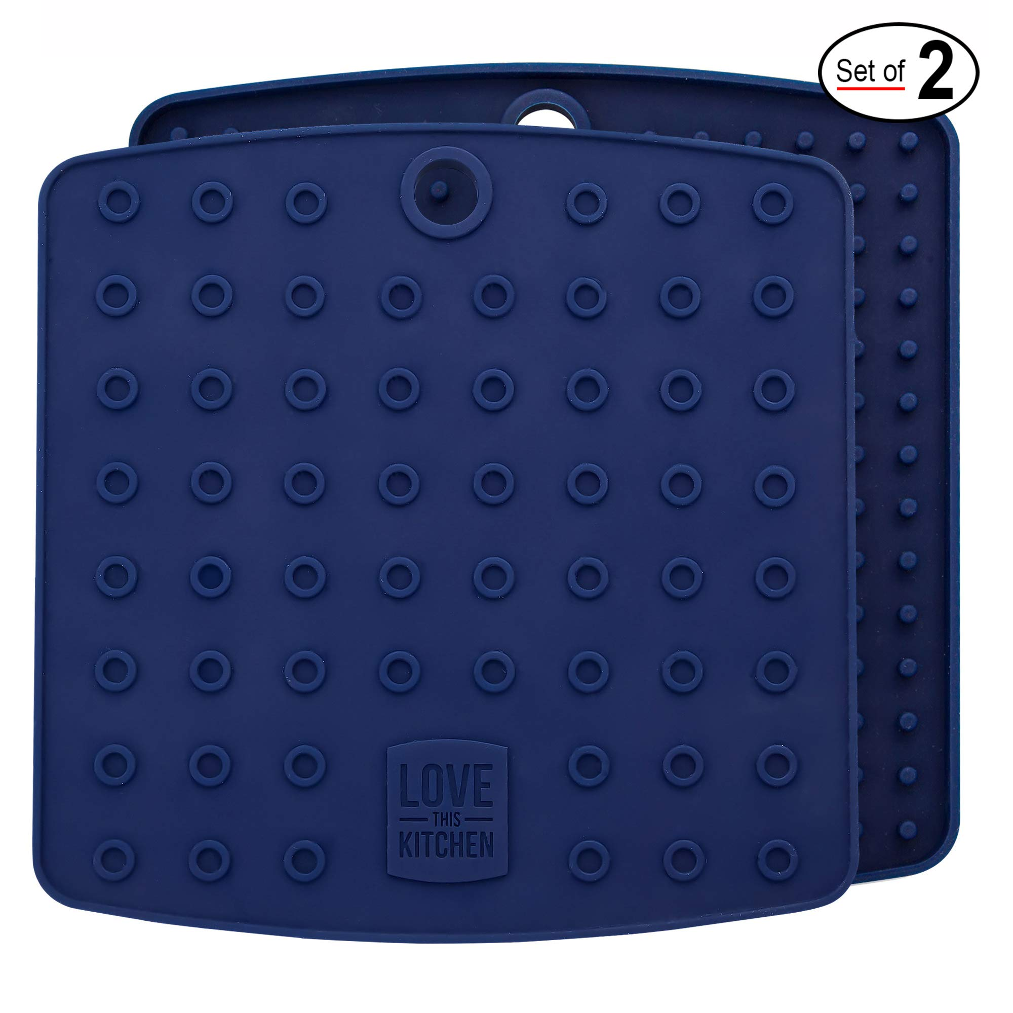 Premium Silicone Pot Holders for Kitchen - Easy to Clean Trivets for Hot Pots and Pans - This Kitchen Tool Works Well as Silicone Trivet, Hot Pads for Oven, Potholders (7x7 in, Blue, 1 Pair)