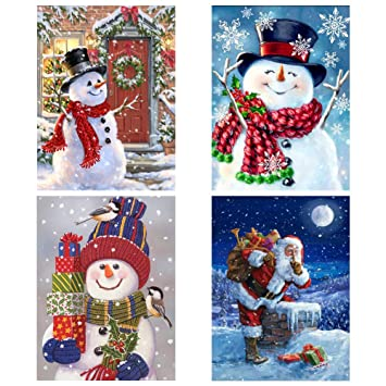 Nablue 4 Pack Christmas Full Drill 5d Diy Diamond Painting Kits