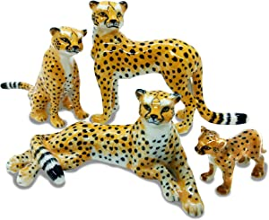 4 Cheetah Tiger Family Set Ceramic Pottery Statue Miniature Animal Figurine Hand Painted