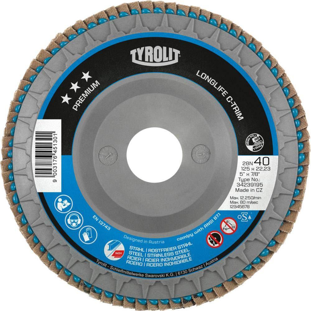 bo/îte de 10 125 mm x 22.23 mm 28N Forme Tyrolit 34239197 Premium Disque /à lamelles Za80T-B