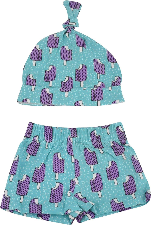Unique Baby Boys Popsicle Print Onesie Shorts Cap 3 Piece Layette Set