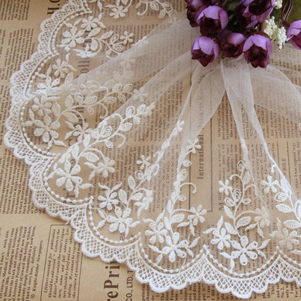 Beautiful By Design Ivory 3 Yards Floral Embroidered Mesh Lace Dress Edge  Fabric Ribbon Garter Lace Craft Home 5 Inches Wide