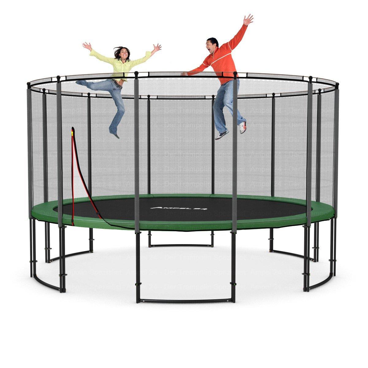 Deluxe Trampolin Ø 430 cm, mit Netz, grün, bis 160 kg: Amazon.de: Garten