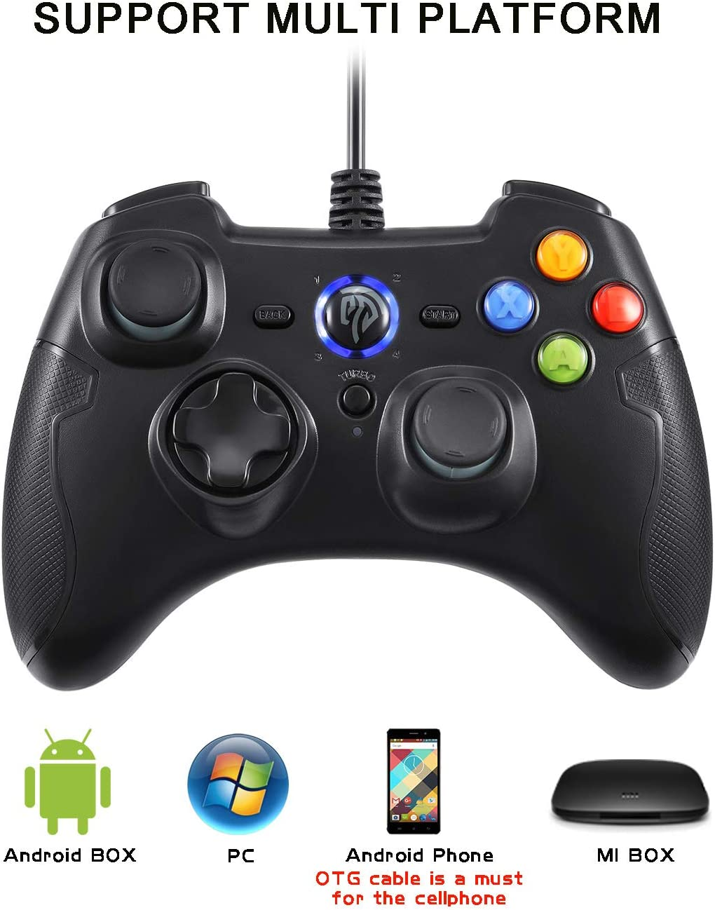 Black EasySMX PC Game Controller Joystick with Dual-Vibration Turbo and Trigger Buttons for Windows//Android// PS3// TV Box Wired Gaming Controller