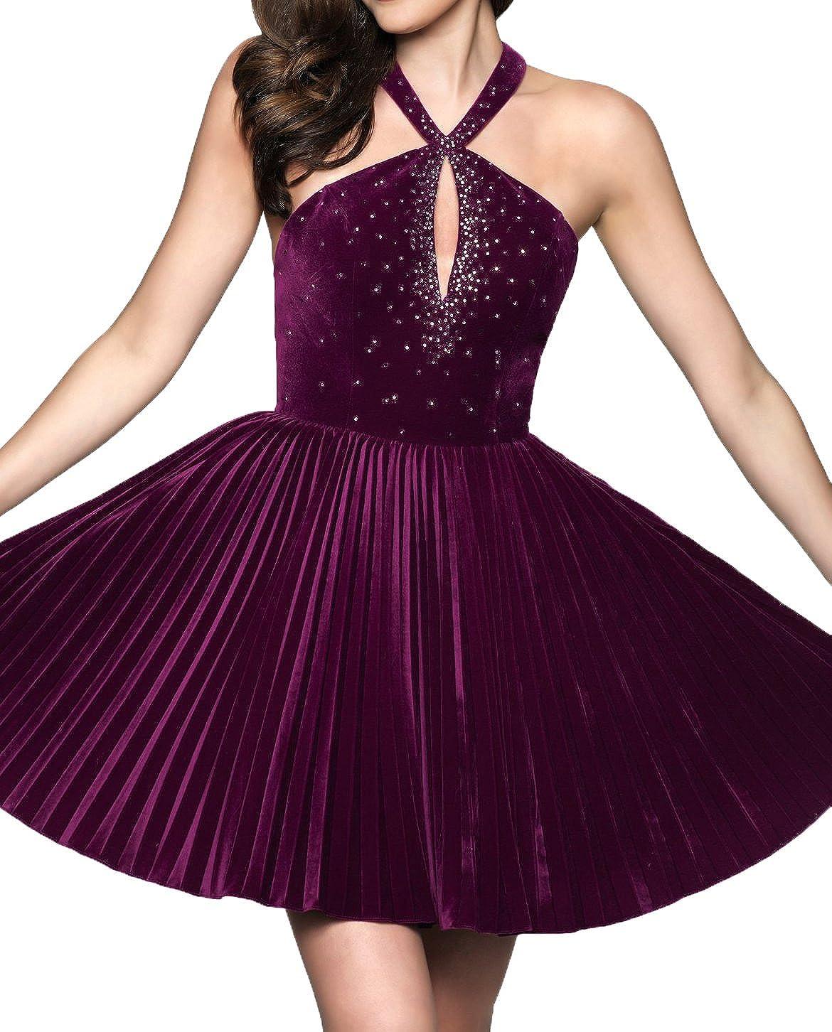 Asoiree Womens Velvet Beaded Pleated Homecoming Prom Dress