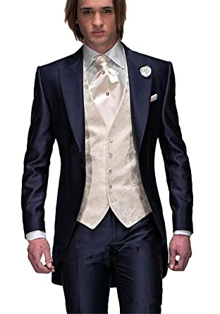 8b24be4a9555 Newdeve 3 Pieces Dark Blue Formal Men's Wedding Suits Long Jacket at ...