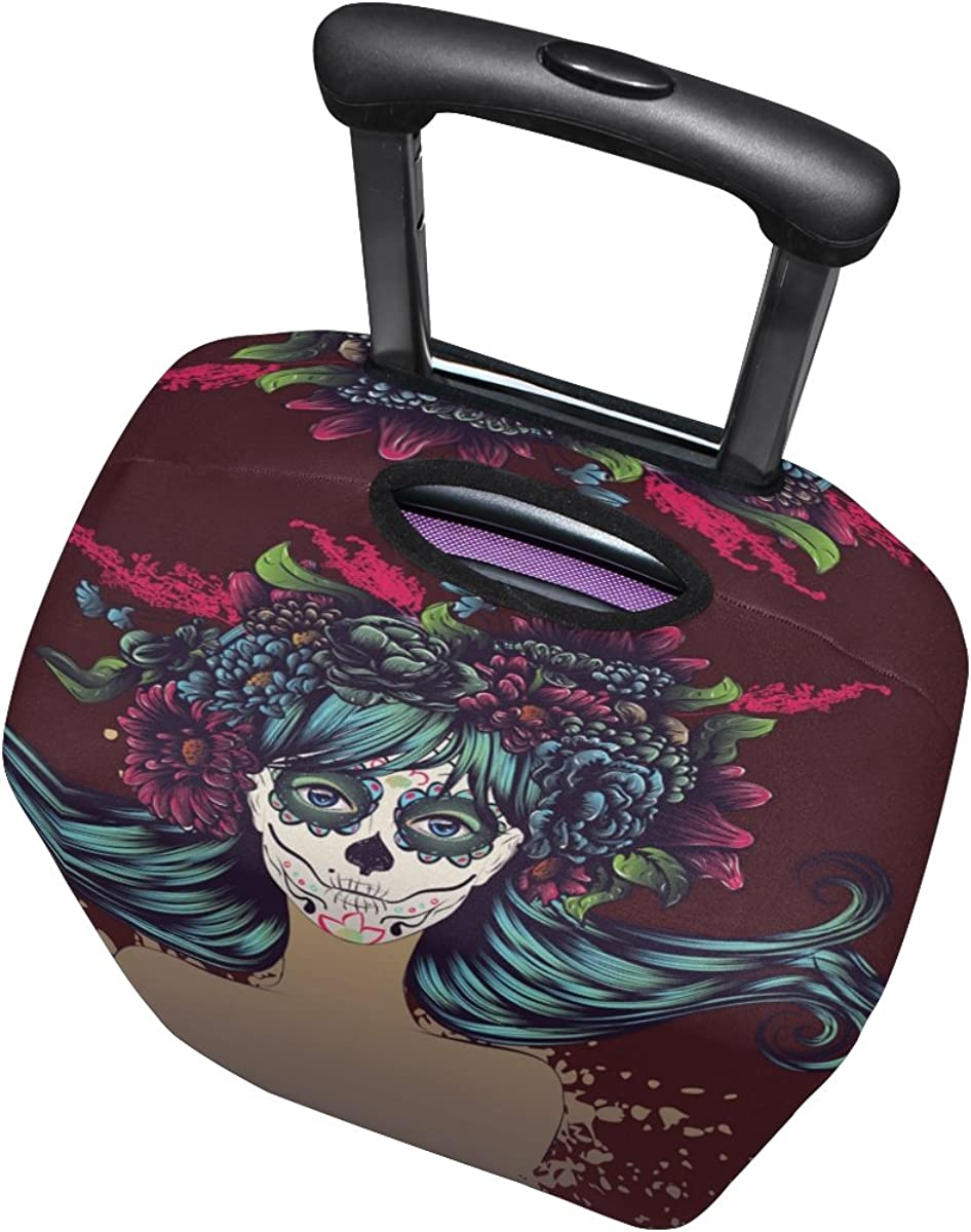 GIOVANIOR Sugar Skull Girl Luggage Cover Suitcase Protector Carry On Covers