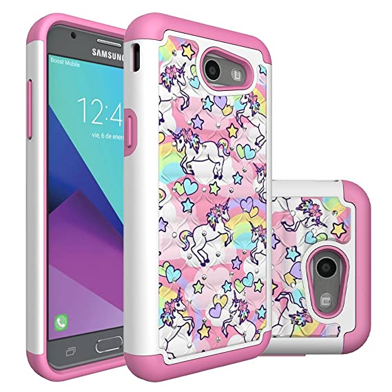 more photos 17d3d aacfd Galaxy J3 Emerge Case,Galaxy Express Prime 2 Case,J3 Prime Case, Heavy Duty  Shockproof Studded Rhinestone Bling Hybrid Case Silicone Protective Armor  ...