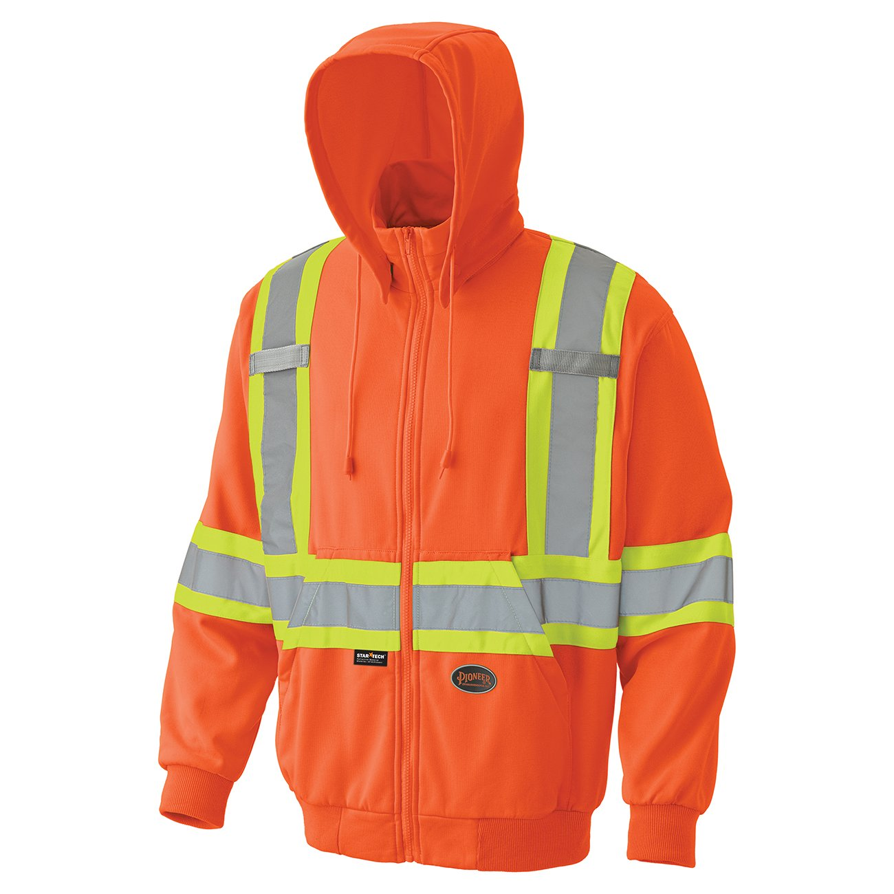 Pioneer V1060570-4XL High Visibility Work Hoodie, Micro Fleece, Black, 4XL