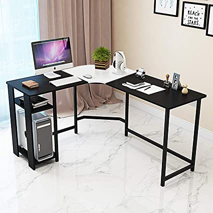Jerry & Maggie - L Shaped Office Desk Computer Desk Table Personal Working  Space Lapdesk Corner Set with Wood Surface Board & Steel Frame Support for  ...