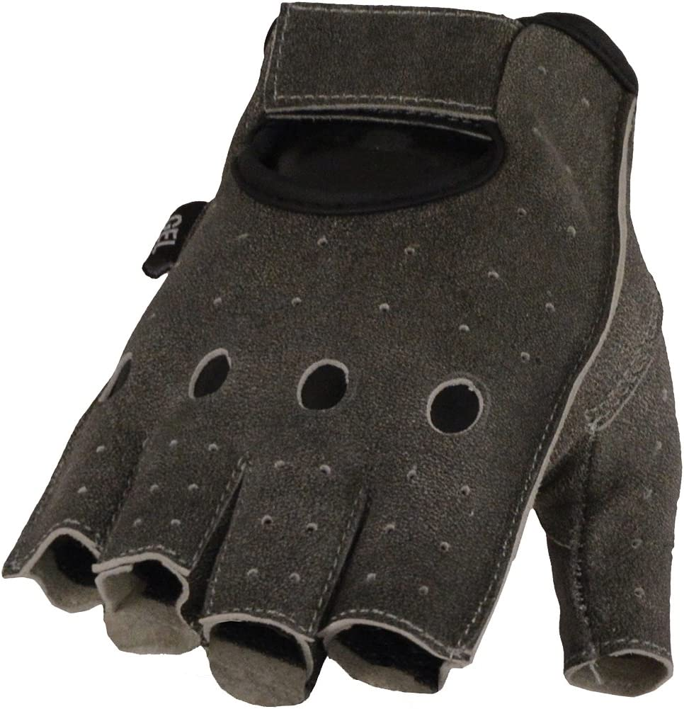 FINGER LESS LEATHER DRIVING GLOVES CHAUFFEUR MOTORBIKE BUS GEL PADDED PALM