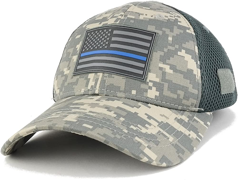 Armycrew Thin Blue Line USA Flag 3-D Rubber Tactical Patch Adjustable Structured Operator Cap