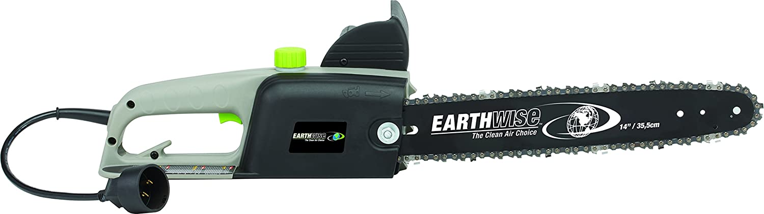 Earthwise opp00014 corded 8 amp chainsaw grayblackgreen 14 earthwise opp00014 corded 8 amp chainsaw grayblackgreen 14 bar length amazon patio lawn garden greentooth