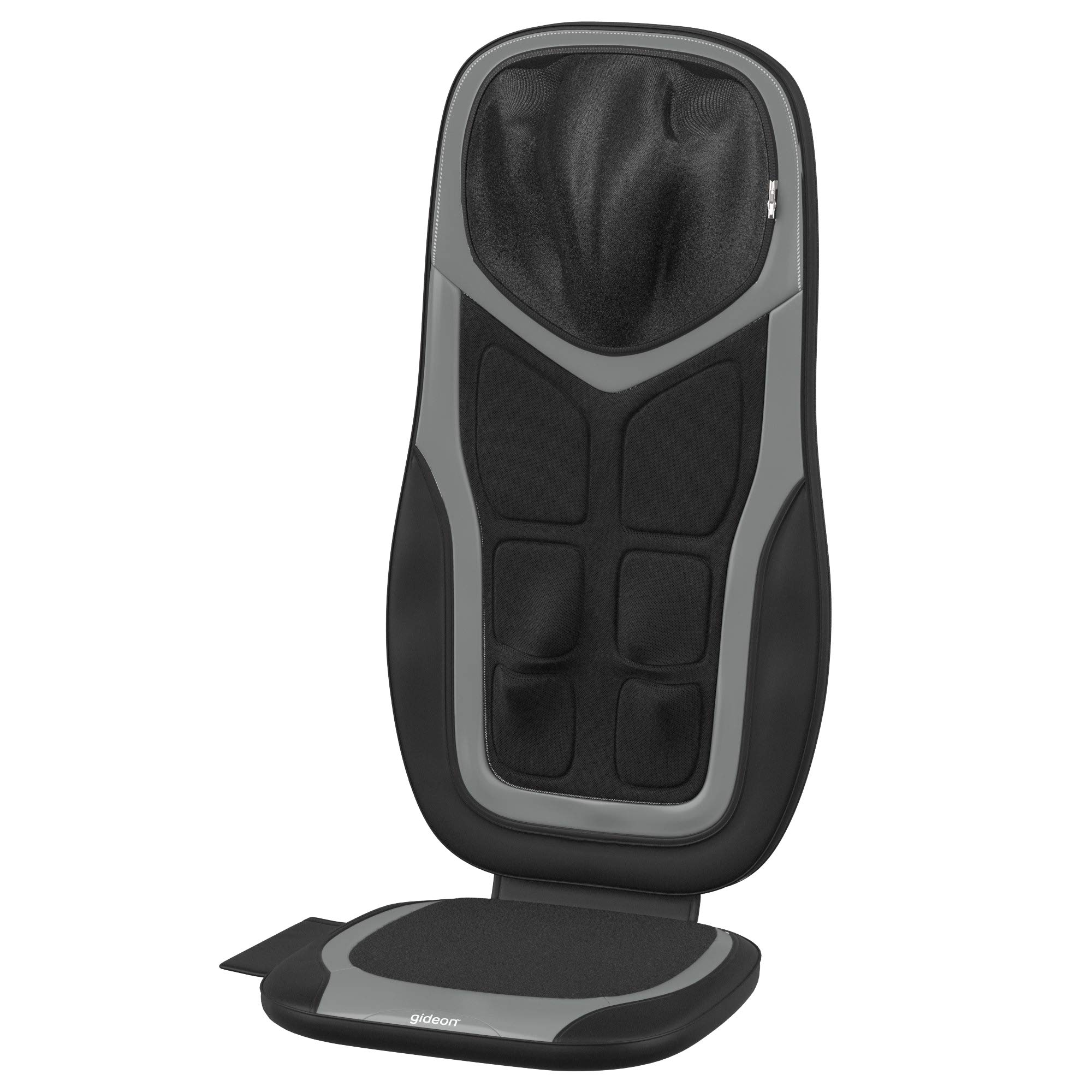 Gideon Shiatsu Neck and Back Massage Seat Cushion with Six Programs and Heat Deep Kneading Back Massager for Car, Home or Office Chair Use