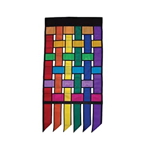In the Breeze Rainbow Weave Garden Flag with Tails