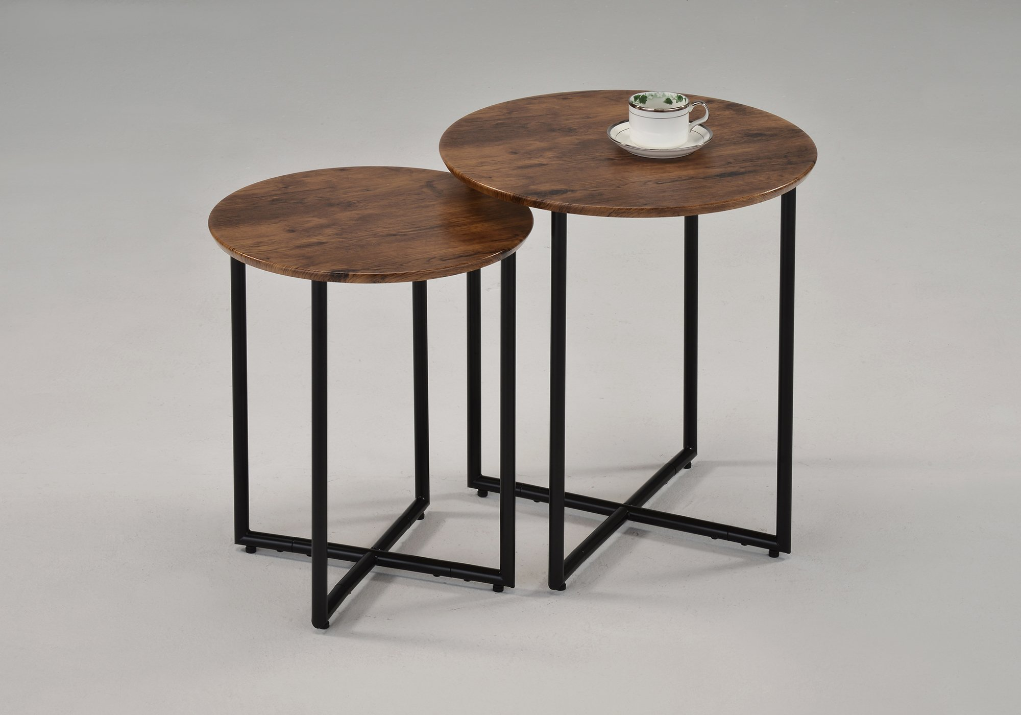 Set of 2 Walnut Finish Round Nesting Tables Side End Table