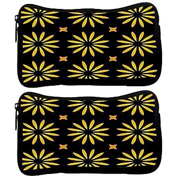 Snoogg Pack De 2 Tela Amarillo Flor Negro Patrón Funda estudiante pluma lápiz caso bolsa de cosméticos bolsa de monedero: Amazon.es: Oficina y papelería