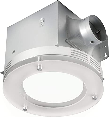 Ultra Quiet Bathroom Fan with LED Light 90CFM 1.5 Sones 12W E26 Base LED Blub Included 3 Years Warranty by Akicon
