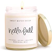 Sweet Water Decor Hello Fall Candle | Cinnamon, Apples, and Clove Autumn Scented Soy Wax Candle for Home | 9oz Clear…
